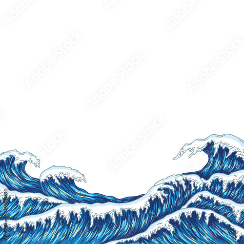 Hand drawn wave. Vector illustration Canvas Print