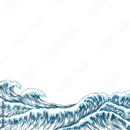 Valokuva  Hand drawn wave. Vector illustration