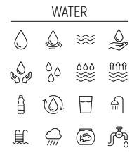Set Of Water In Modern Thin Li...