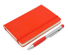 Red Closed Notepad  And Pen Is...