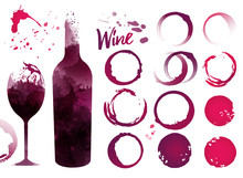 Wine Stains Set For Your Designs. Color Texture Red Wine Or Rose Wine. Vector