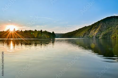 Foto auf Gartenposter Fluss Vltava river, czech republic, golden hour landscape