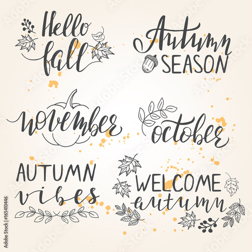 Hand Lettered Autumn Season Phrases Buy This Stock Vector And