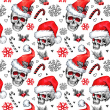 Watercolor Seamless Pattern With Sketchy Skulls In Santa Hat, Snowfalkes, Leaves. Cretive New Year. Celebration Illustration. Can Be Use In Winter Holidays Design, Posters, Invitations.
