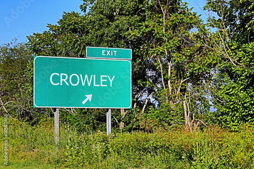 Photo  US Highway Exit Sign For Crowley