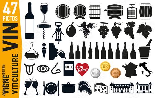 icône - vin - raisin - bouteille de vin - tonneau -pictogramme - promotion Fototapete