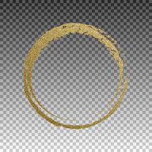 Round Grunge Golden Frame On Checkered Background. Circle Luxury Vintage Border, Label, Logo Design Element. Hand Drawn Shape Vector Illustration. Gold Brush Abstract Wave.