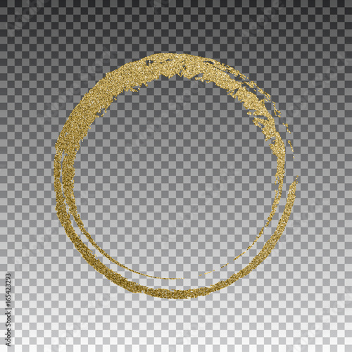 Fotografía  Round grunge golden frame on checkered background