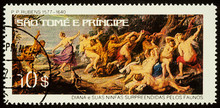 Painting Diana And Her Nymphs Surprised By Fauns On Postage Stamp