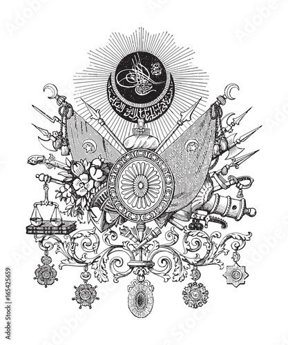 Carta da parati Ottoman Empire (Turkey) coat of arms - vintage illustration