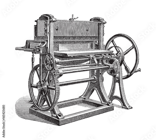 Valokuva  Paper cutting machine - vintage illustration