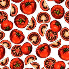 FototapetaVector hand drawn seamless pattern of tomatoes. Farm vegetables. Engraved colored art. Organic sketched objects. l