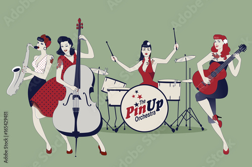 Obraz na plátně PinUp Girls Band