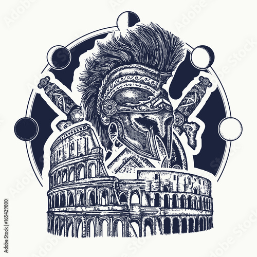 Spartan Helmet Crossed Swords Spartan Shield And Colosseum Tattoo