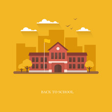 School Building Illustration On Orange Background