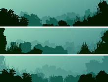 Horizontal Banners Of Seabed W...