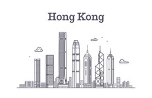 China Hong Kong City Skyline. Architecture Landmarks And Buildings Vector Line Panorama