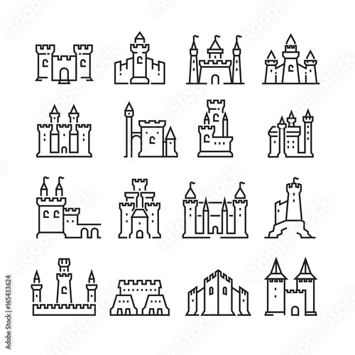 Fotografie, Tablou Medieval castle and ancient tower fortress line vector icons