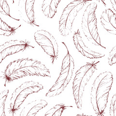 Panel SzklanyHand drawn feathers