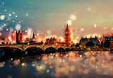 Fototapeta Londyn - City of London by Night - Tower Bridge, Big Ben, Sunset - Bokeh, Lens Flares, Camera Blur