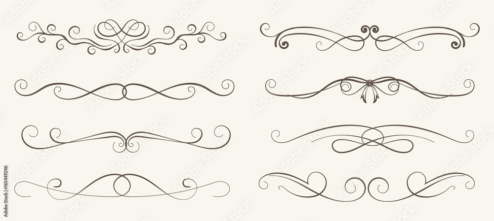 Fototapeta Vector set of decorative elements,  frame and line vintage style