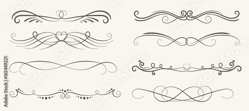 Fototapeta Vector set of decorative elements,  frame and line vintage style obraz