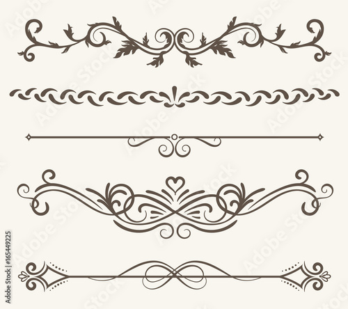 Leinwand Poster Vector set of decorative elements,  frame and line vintage style