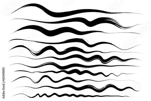 Fotografie, Obraz  Wavy lines, brush drawing