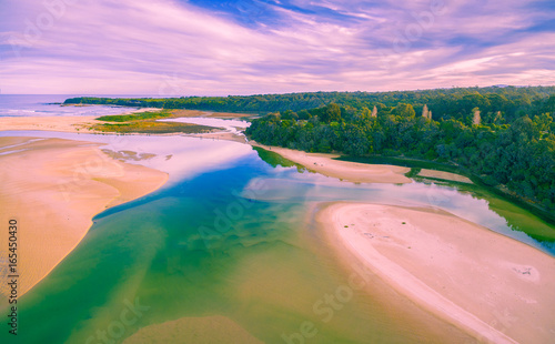 Printed kitchen splashbacks Purple Aerial view of ocean coastline in Australia at low tide with copy space