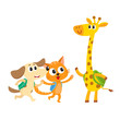 Cute animal student characters, cat, dog and giraffe with backpacks meeting in class, cartoon vector illustration isolated on white background. Little animal student characters, back to school concept
