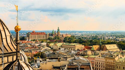Fototapeta Krakow. Poland. Summer. Sunset. View of the old town. City landscape. obraz