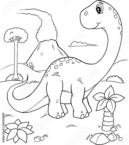 Poster Cartoon draw Cute Dinosaur Vector Illustration Coloring Page Art