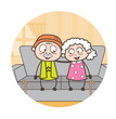 Old Age Love Cartoon Vector Illustration