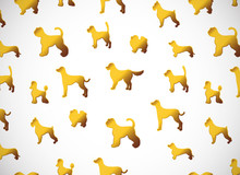Horizontal Card. Pattern With Cute Cartoon Gold Dog Silhouettes. Different Breeds.