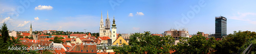 Zagreb skyline with Zagreb Cathedral and St. Mary Church. View from Strossmayer Promenade on Upper Town. Panoramic view.