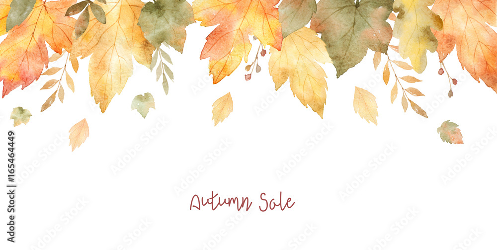 Fototapety, obrazy: Watercolor sale banner of leaves and branches isolated on white background.