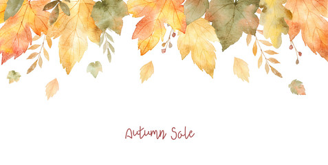 Watercolor sale banner of leaves and branches isolated on white background.