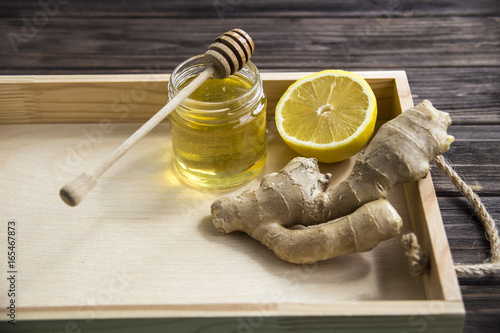 Lemon, ginger and honey for the treatment of folk remedies of autumn colds Poster