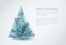 Modern Christmas Card With Christmas Tree