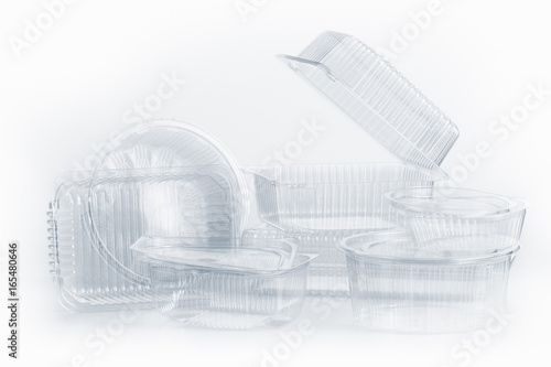 Group of Plastic container for foodstuffs on white.