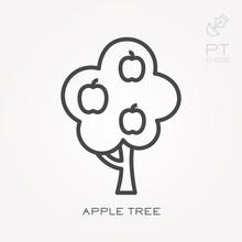 Line Icon Apple Tree
