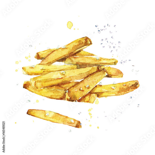Photo sur Aluminium Illustration Aquarelle French fries. Watercolor Illustration.