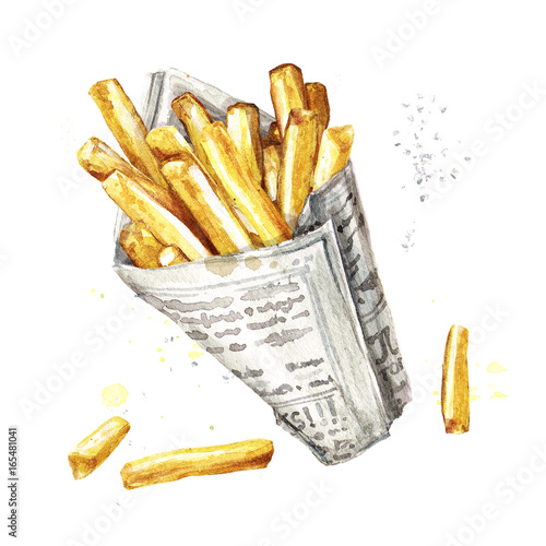 Poster Watercolor Illustrations French fries. Watercolor Illustration.