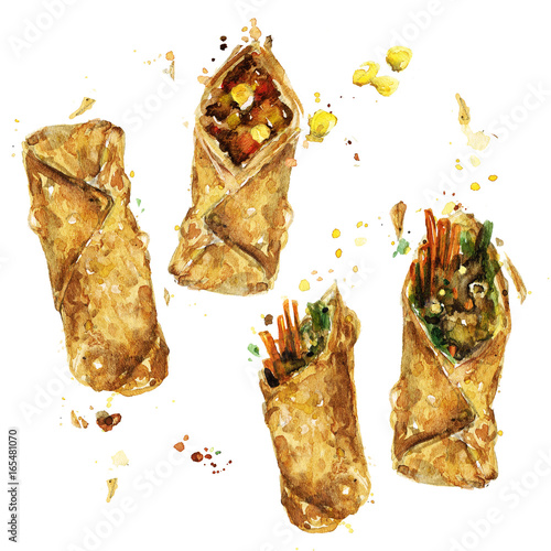 Poster Watercolor Illustrations Spring rolls. Watercolor Illustration.