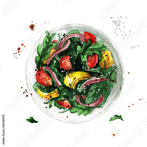 Photo sur Aluminium Illustration Aquarelle Salad bowl. Watercolor Illustration.