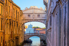 View Of Canal And The Famous Bridge Of Sighs In Venice