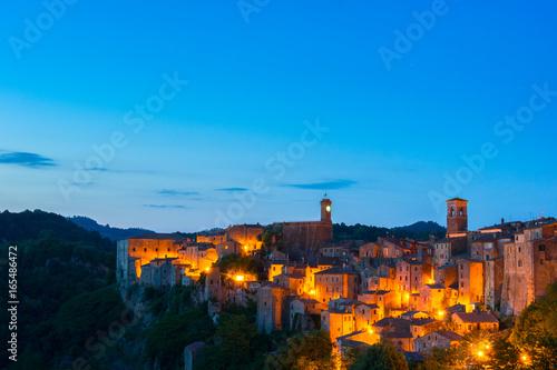 Printed kitchen splashbacks Athens Evening view of Sorano, Tuscany, Italy