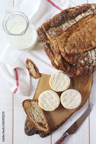 French goat cheese, milk and  sourdough bread