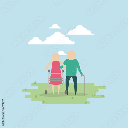 Tuinposter Lichtblauw color background sky landscape and grass with silhouette set pictogram elderly couple in grass with walking stick vector illustration