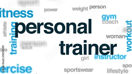 Personal trainer animated word cloud, text design animation.